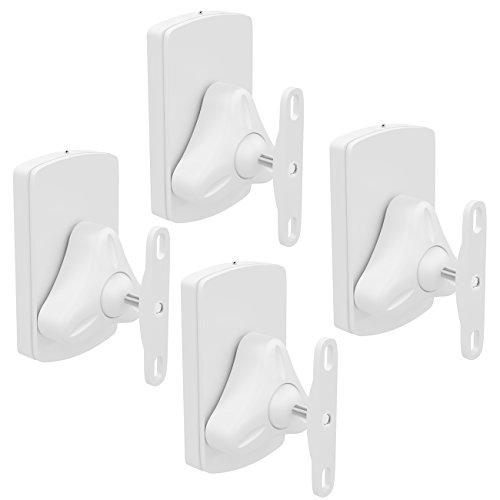 deleyCON 4X Universal Lautsprecher Wandhalterung Set Halterung Boxen Halter Schwenkbar + Neigbar bis 10Kg Deckenmontage + Wandmontage - Weiß