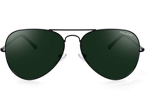 fowova ▪ Polarisiert Pilotenbrille Herren, 2019 Polarisierte Sonnenbrille Herren in Aviator/Piloten, UV400, 58mm, Cat.3, CE (schwarz, Grün)