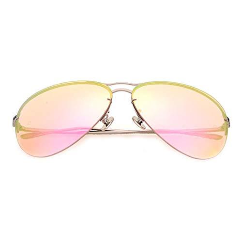 Polarisierte Linse UV 400 UV Metallrahmen Fallenlassen Angeln Herren Damen Sonnenbrille Brille (Farbe : Silver Frame/Pink Lens)