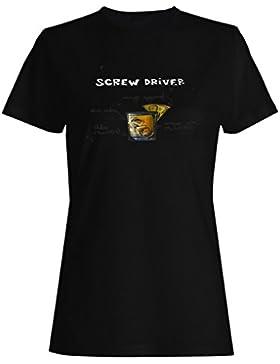 Destornillador cóctel recetas barra menú camiseta de las mujeres uu71f