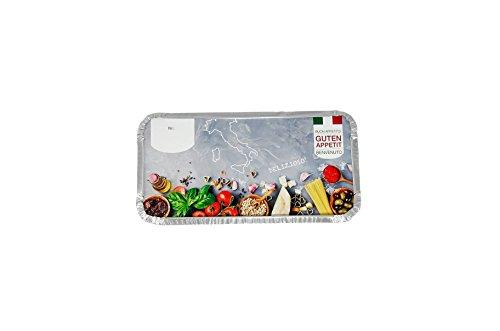 """500 Alu-Schalen eckig mit Motiv Deckel """"Italia"""" • 940ml • 218 x 113 x 54 mm • Lasagneform • Alubehälter mit bedrucktem Kartondeckeln • alukaschiert"""