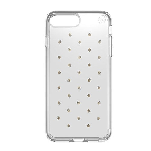Speck Presidio Clear + Print Coque Transparente Imprimée pour iPhone 7 Plus - Argent/Transparent à Pois Argent/Transparent à Pois