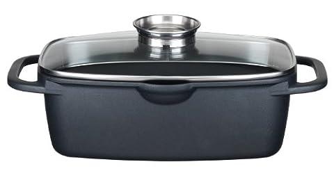 GSW 410113 Gourmet Universalbräter mit Aroma-Glasdeckel und Grillboden, 33 x