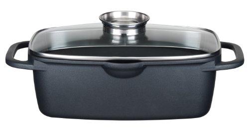 GSW 410113 Gourmet Universalbräter mit Aroma-Glasdeckel und Grillboden, 33 x 21 cm /  6 Liter