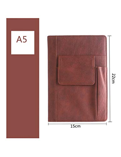 ZLJHH A5 Business Notebook Riutilizzabile Notebook Scuola Diario Ufficiale Journal Addensare In Pelle Agenda Cancelleria,Wine Red