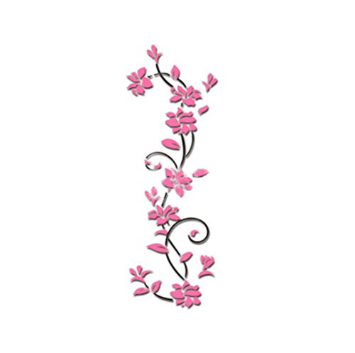 HCFKJ 2017 Mode Flower Design Wandaufkleber Home Shop Windows Decals Dekor Abnehmbare (ROSA)
