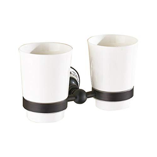 MALLTY Badezimmer-Toilette-doppelte keramische Schale mit Halter-Wand-Berg Weinlese-gebürstetem Kupfer (Becherhalter und Cup) (Color : Black) (Wand-berg-cup)