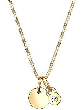 Diamore Damen-Kette mit Anhänger Kreis 585 Gelbgold Diamant (0.03 ct) weiß Brillantschliff 45 cm - 0108670916_45