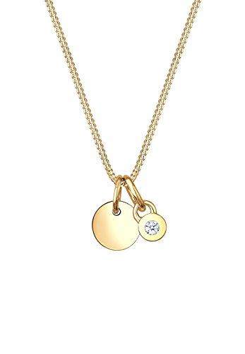 Diamore Damen-Halskette mit Anhänger Kreis Geo Basic Elegant Diamant 585 gelbgold 0,03 Karat