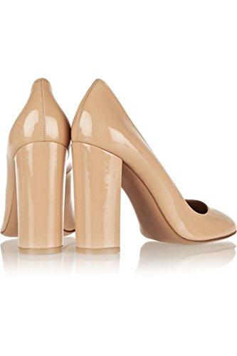 EDEFS - Scarpe col Tacco - Decolleté Chiuse Donna - Elegante Alto 10cm - Tacco a Blocco Beige
