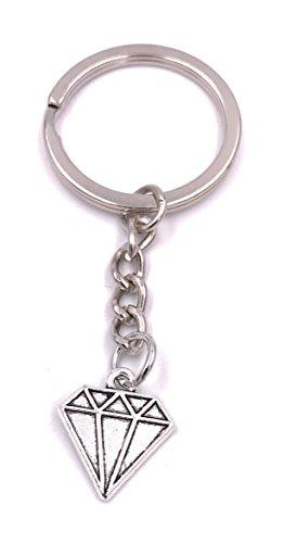 H-Customs Diamant Kristall Schlüsselanhänger Anhänger Silber aus Metall (Schlüsselanhänger Diamant-ring)
