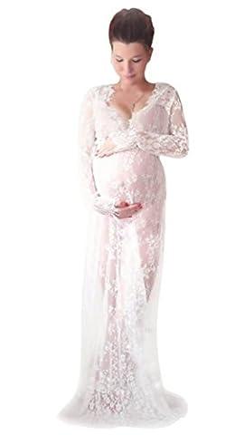 NiSeng Damen Schwangere Wimpernspitze V-Ansatz Lange Ärmel Fotografie Lange Kleid Schwangere Mütter Fotografie Werkzeuge Weiß M