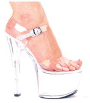 Flirt 7 Pump 3 Platform Heels- Clear, Size 10 by Ellie Shoes