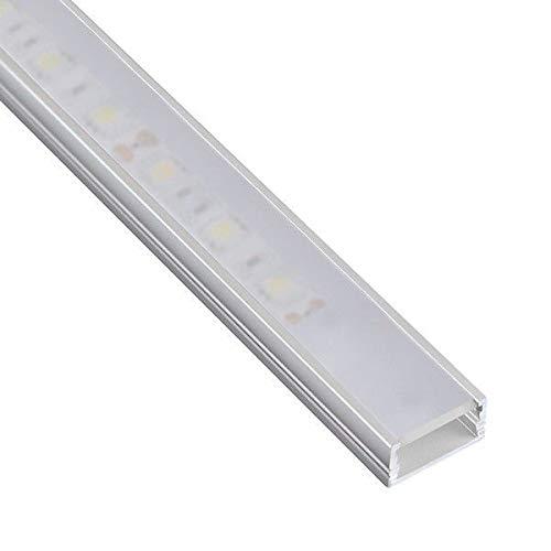 DL1407 - Perfil de aluminio 6063, 1m, para tiras LED, con cubierta opaca, tapas y grapas de montaje incluidas