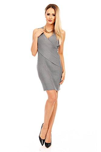 MISS ABC Damen Kleid, ein kurzes Kleid mit V-Ausschnitt in Wickel Optik, Gr. 34-38 Grau