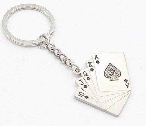 Ogquaton Poker Schlüsselring Schlüsselbund Pendent Poker Royal Flush Schöne Schlüsselringe Premium Qualität -