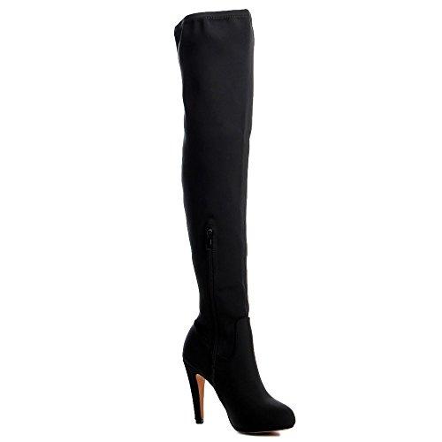 Topschuhe24 620 overknee krempelschaft bottes femme Noir - Noir