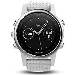 Garmin Fenix 5S - Reloj Multideporte, con GPS y medidor de frecuencia Cardiaca, Lente de Cristal y Bisel de Acero Inoxidable, 42 mm, Color Blanco