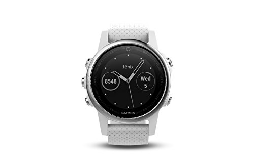 Garmin 010 01685 00 Fenix 5S Multisport GPS Watch With Outdoor Navigation And Wrist Based Heart Rate White With Carrara White Band