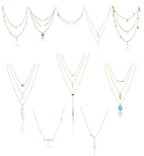 Yadoca 10 Piezas Collar de Múltiples Capas para Mujeres Niñas Corazón Hoja Estrella Luna Perlas de Turquesa Collar Colgante Vintage Gargantilla Cadena Clavícula