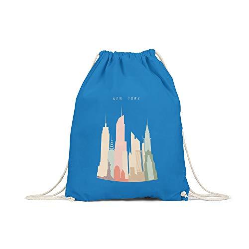 licaso Bolsa de Deporte Estampada en Colores Gym Bag con Robusto Cordel Bolsa impresión ecológica & sostenible Bolsa de Transporte 100% algodón, Color New York Skyscrapers, tamaño Sapphierblau