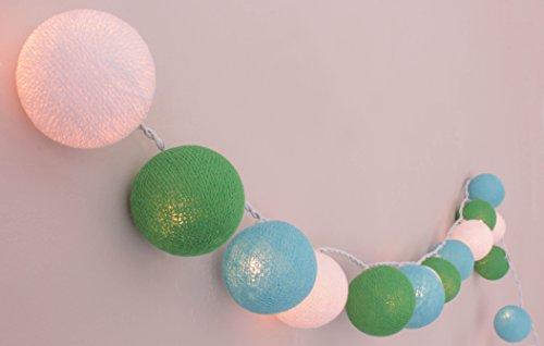 Illuminate Your Home Lichterkette Jungenzimmer mit Kugeln aus Baumwolle - cotton Ball Lights, Innen (20 Kugeln), Weiß - Helles Grün - Helles Blau -