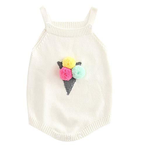 Neugeborenes Baby gestrickter Overall, Vovotrade Kleinkind niedlicher Ball Bestickte Baumwollspielanzug Sleeveless strickende Bodysuit Tunika Strickwaren für Säuglingsmädchen