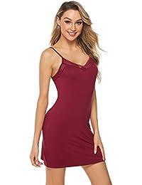 dc6a5f1bef8 Aibrou Women Satin Negligee Babydoll Lingerie Night Dress Lingerie  Nightdress Sleepwear Underwear Short Strap Dress V