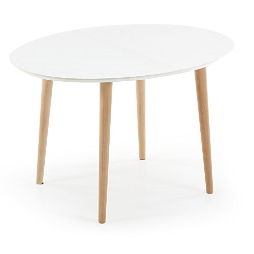 Kavehome Table Oqui extensible ovale 120-200 cm, naturel et blanc