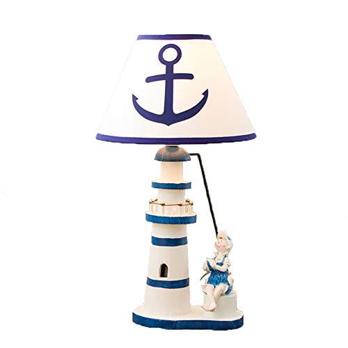 Mediterrane Schreibtisch Lampe Hölzerne Leuchtturm Dimmbare Augen-Pflege-Schlafzimmer Nachtlampe,Boy -