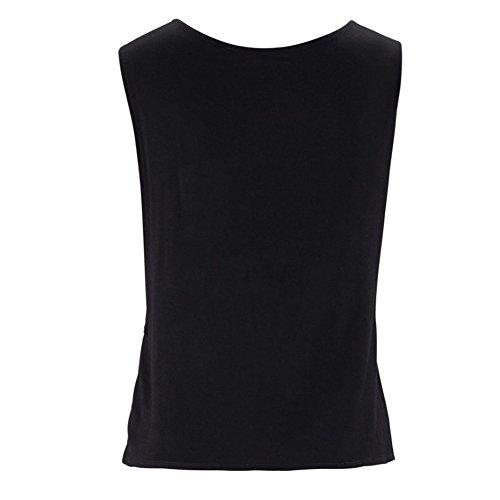 Débardeur Femme Top Tee-Shirt Motif Plume Imprimé Haut Sans Manche Noir