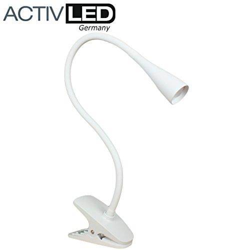 LED Klemmleuchte *Swan* von Activled in weiß Klemmlampe Leseleuchte AL-CL1211-W -