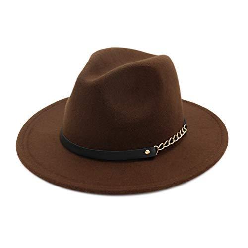 Damen Classic Vintage Woolen Wide Brim Fedora Hüte Fashion Crushable Trilby Panama Jazz Hut mit schwarzem Ledergürtel -