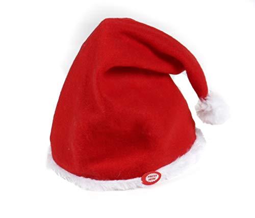 Bubble-Store Weihnachtsmütze, Weihnachtsmann-Hut aus Plüsch, singt und winkt,...