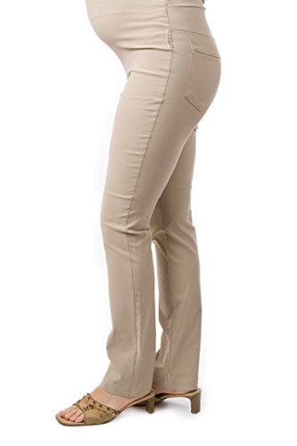 Christoff Damen Stretchhose Umstandshose Hose Umstandsmode 552/33/ (40L (Herstellergröße: 40/34L), beige)