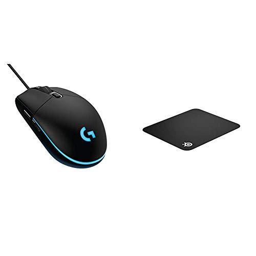 Logitech G203 kabelgebundene Gaming Maus (Optische 8.000 dpi, mit 16,8 Mio-Farb-LED-Anpassung) & SteelSeries QcK - Gaming-Mauspad - 320mm x 270mm x 2mm - Stoff - Gummiunterseite - Schwarz