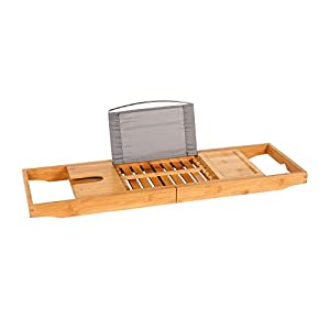 Wonderhome BHT71-105 – Bandeja para bañera (bambú, extensible, con toallero y soporte para libros, para iPad, con…