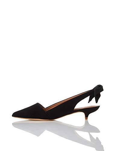 find. Suede Kitten Heel Slingback Pumps, Schwarz Black, 39 EU
