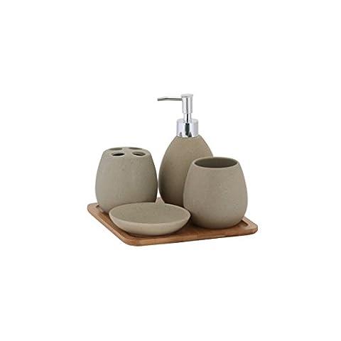 axentia 126822 Bad-Set Avignon, Badausstattung, WC-Zubehör aus hochwertiger Keramik und Bambus, braun, 23 x 30 x 11
