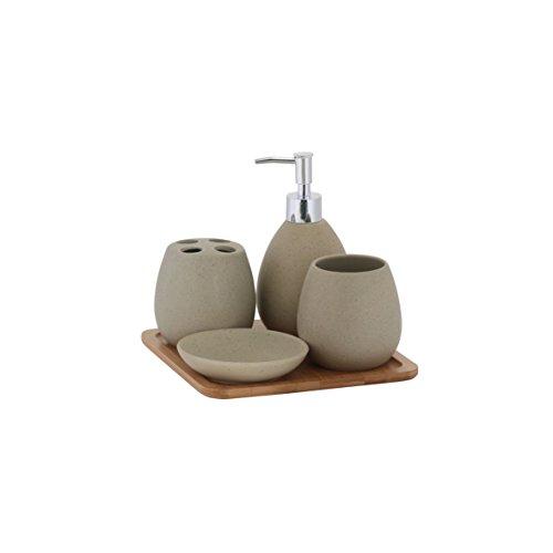 axentia 126822 Bad-Set Avignon, Badausstattung, WC-Zubehör aus hochwertiger Keramik und Bambus, braun, 23 x 30 x 11 cm