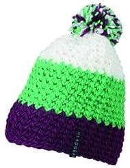 Myrtle Beach Häkel-Mütze mit Bommel dreifarbig, Farbe:purple lime green white