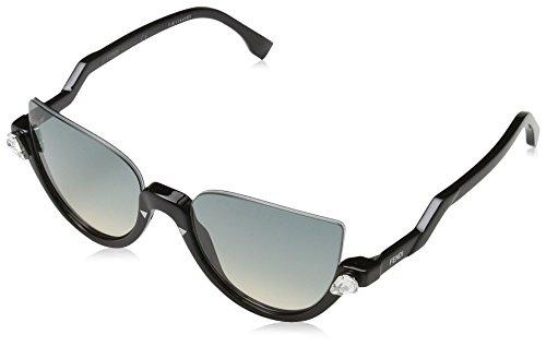 Fendi Damen FF 0138/S IE 29A Sonnenbrille, Schwarz (Shiny Black/Blue Beige), 52
