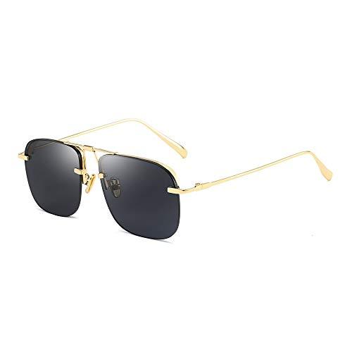 WJFDSGYG Goldmänner Quadratische Sonnenbrille Randloser Halber Rand Frauensonnenbrille Grüner Gelber Uv400 Unisexsommer