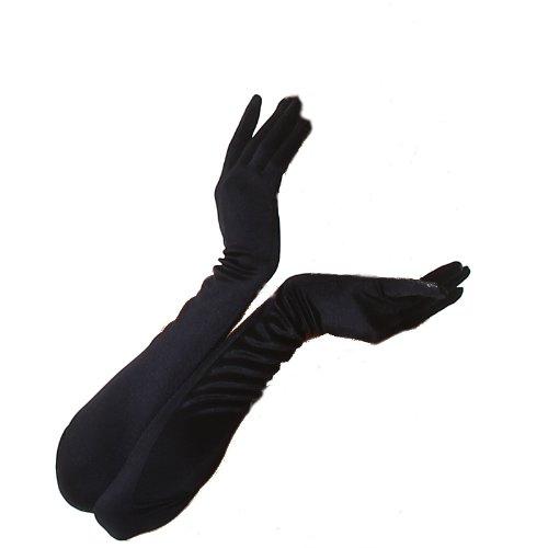 Lange Satinhandschuhe in schwarz, rot oder weiß Einheitsgröße, Black, One Size