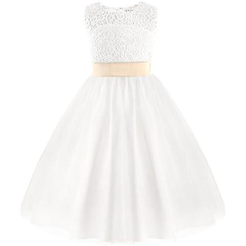 YIZYIF Vestido De Fiesta De Cumpleaños Vestido De Niña De La Flor Blanca Del Desfile De Los Niñas De Dama De Honor Para 2-12