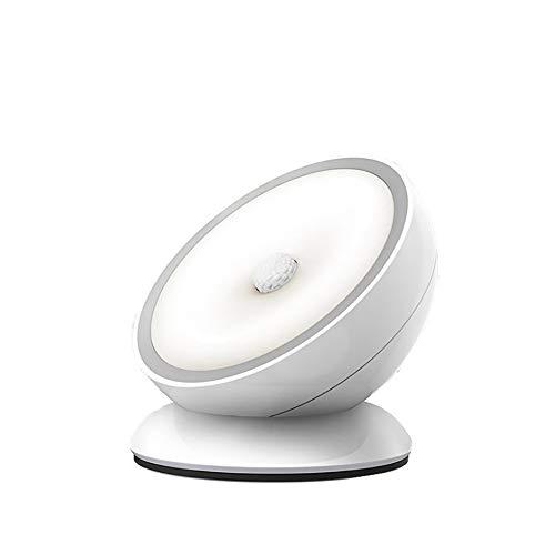 ZUEN LED Nachtlicht Bewegungsmelder Induktion Wireless Detektor Licht USB Lade Schlafzimmer Küche Flur Nachtlicht Automatische Induktion EIN/Aus,White Induktive Spannung Detektor