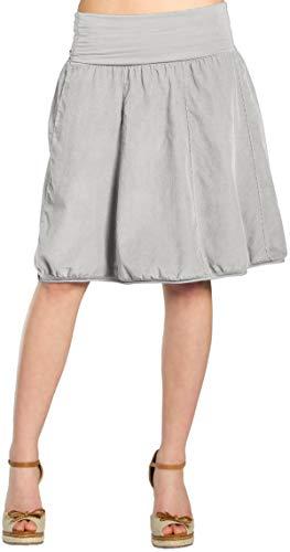 CASPAR RO004 Damen Winter Cord Rock knielang, Farbe:hell grau;Größe:One Size