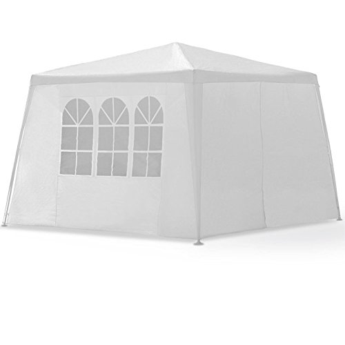 LARS360 3 x 3 m Bianca Tenda esterno Tenda da giardino Padiglione Tenda birra Tenda gazebo con 4 pareti laterali, 3 finestre, 1 porte con cerniera, copertura PE impermeabile