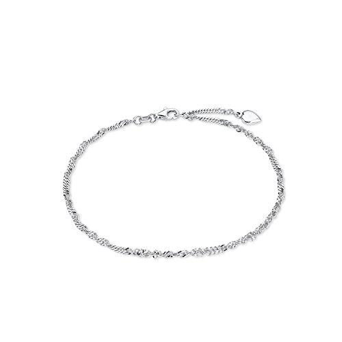 Amor Damen-Fußkette Sommerschmuck Singapur 925 Sterling Silber rhodiniert längenverstellbar 92166
