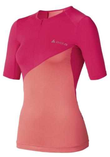 Odlo T-shirt à manches courtes pour femme Col semi-zippé Multicolore - Fuchsia/corail